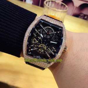 Alta qualità V 45 S6 SQT NR BR (NR) Black Skeleton Dial Rose Gold Diamond Case Automatic Mechanical Mens Gestore in pelle cinturino