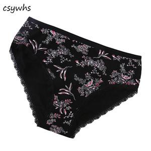 CSYWHS 4pcs / lot Nouvelles Femmes Coton Slip Imprimer Culottes Dentelle Sexi Sous-Vêtements Femme Plus La Taille Culotte Mode Intime