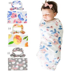 16 colori neonato bambino cotone Swaddle 2 pz set orecchie di coniglio arco fascia + swaddle floreale giallo pesca fenicottero stampa coperte C2468