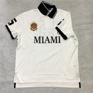 POLO-T-Shirt US-GRÖSSE Big Pony City Benutzerdefinierte Passform Mesh EU UK Größe Miami Weiß Dubai Gold Chicago Rot New York Schwarz