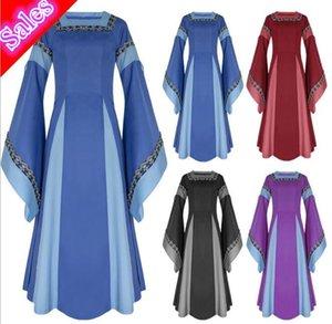 la moda caliente de la manga de época medieval preciosa trompeta mangas bordado Lady 's vestidos de partido de las mujeres del traje de carnaval temático Juego de roles cosplay