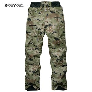 Wholesale- Camouflage Ski Pant Men High Waist Waterproof Snowboard Pant Ski Trousers Thermal Breathable Outdoor Snow Pants Male h160