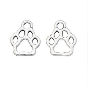 200Pcs alloy Paw Print Charms Antique silver Charms Pendant For necklace Jewelry Making findings 13x11mm