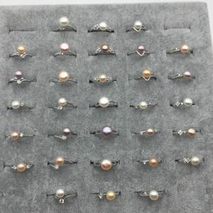 Joyería al por mayor de agua dulce Mezcla cultivada colores Perlas perlas anillo ajustable 8-9mm