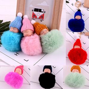 Yenilik Öğeleri Sevimli Uyuyan Baby Doll Anahtarlık Ponpon Tavşan Kürk Topu Anahtarlık Araba Anahtarlık Kadınlar Anahtar Tutucu Çanta kolye WX9-367