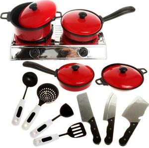 أواني الطهي لعب الأطفال في المطبخ اللعب أواني المطبخ في التعليم المبكر لعبة 13 مجموعات من أدوات المائدة الحمراء المحاكاة 3892
