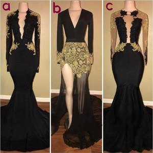 Sexy Gold Black Langarm Spitze Prom Party Kleider Juwel Mermaid Lange Ärmel Schärpe Satin Ball Kleid Formale Frauen Abendkleider