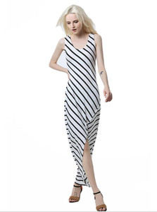Long dress with a striped dress U collar irregularly striped forked dress Close to the body Sexy ladies' dresses