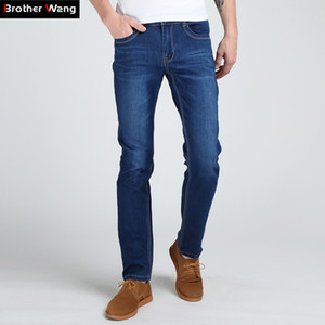 Brother Wang Männer Slim Jeans Mode Hohe Elastische MaleTighten Solide Marke Beiläufige Dünne Jeans S913
