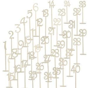 40pcs 1-40 Numeri di tavolo in legno Forniture di nozze in legno Wedding Place Holder Table Numero Figure Card Digital Seat Decoration