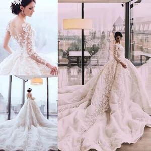 2018 vestidos de boda de lujo Perlas apliques moldeados vestidos de novia de princesa real Saudita Fabuloso una línea de tul vestido de novia de tren de la catedral