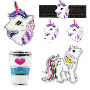 Mix Styles 8mm Unicorno Horse Coffee cup Slide Sharms Wristband Charms Fit 8mm Dog Cat Collare Pet Braccialetto Del Braccialetto Monili Che Fanno