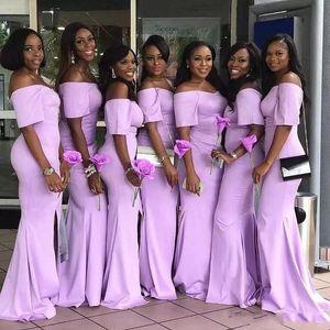 2020 Лаванда с плечевой русалки с короткими рукавами Ближние восток длинные платья подружки невесты с щельюмированными взрослыми для взрослых.