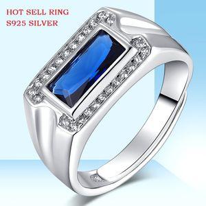 S925 Joyas de plata esterlina Anillo de cristal azul, anillos de apertura para hombres, joyas de color azul vivo, anillos de joyería
