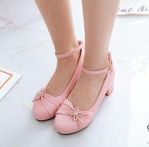 Бесплатно отправить 2018 весна новый стиль Корейский на высоком каблуке грубый каблук принцесса женская обувь