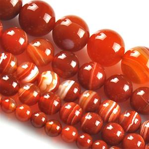 8mm Wholesale 6-12mm 15'' Natural red stripe carnelian onyx stone round ball loose fashion beads jewelry making