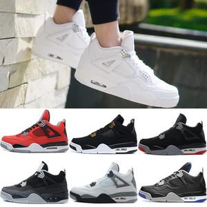 새로운 2018 Mens 4 4s 육성 된 순수 농구 신발 로열티 화이트 시멘트 오레곤 Toro Bravo Men Sneakers sports US 8-13
