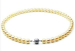 Wunderschöne 8-9mm natürliche Südsee Gold Perlenkette 18inch 925 Silber Verschluss