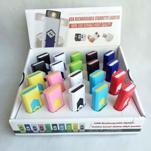 Recarregável sem chama charuto cigarro USB eletrônico Isqueiro com exposição Box também oferecem isqueiros da tocha de arco fumadores Ferramentas Acessórios