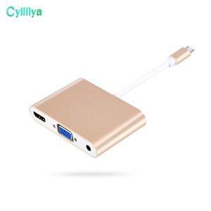 Adaptadores de Cabo de Conversão de Áudio e Vídeo USB 3.1 Tipo C para HDMI Conversor com VGA + 3.5mm Adaptador De Áudio Para PC Portátil