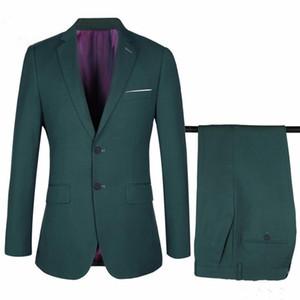 2018 Men Suits Army Green Skinny Business Wedding Suits Custom Made Bridegroom Slim Fit Formal Tuxedos Blazer Prom Best Man Evening Dress