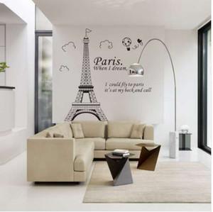 Новый Бесплатная доставка романтический Париж Эйфелева башня прекрасный вид Франции DIY стены стикеры WallpaperArt декор Mural номер Decal