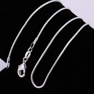 925 Sterling Silver Necklaces 1 mm Snake Chain Necklace Charms Smooth Snake Chain Necklaces 16 18 20 22 24 inches