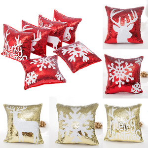 Mermaid Double Seaillum Pillow Case Christmas Snowflake Reindeer Pillowcase di Sofa Home Divano auto Cuscino auto Senza Core GRATIS DHL WX9-855
