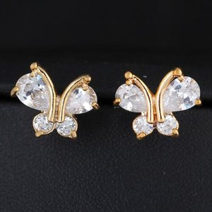 Luxus-süßes nettes Tier Schmetterlings-Ohrring Art und Weise Frauen-Kristallbolzen-Ohrringe Gold überzogene Weinlese-koreanischer Schmuck boucle d'oreille