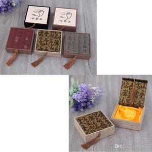 12 * 12 * 4cm Square Buddha Bead Bracelet Boîtes Boîtes - Retro Tassel Linen Jewelry Gift Box - Coffrets Cadeaux