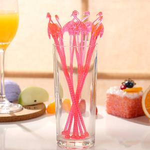 Фламинго форма одноразовые Swizzle Stick молоко чай кофе пластиковые помешивая палочки творческий путаница мультфильм милый розовый 0 15cy B