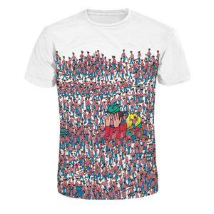 Womens Mens 작은 사람들 인쇄 된 거리 캐주얼 티 반소매 3D 디지털 인쇄 된 T- 셔츠 라운드 넥