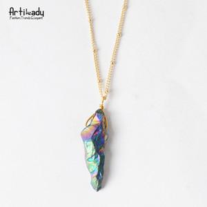 SEDmart Rainbow Wire Wrapped Fluorit Naturstein Anhänger Halskette Handmade Irregular Heilung Crystal Halsband Halskette Frauen