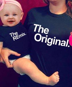 أزياء الأسرة مطابقة وتتسابق الأصلي وريميكس رسالة طباعة الأم ابنة مطابقة الاطفال الملابس الرجال القمصان الطفل السروال القصير