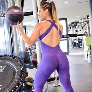 2018 Nuevas Mujeres Deportes Yoga Jumpsuit Fitness Sport Suit Mujeres Yoga Set Halter Backless Gym Running Set Sportwear Body Running
