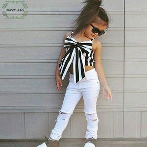 2018 Mode Mädchen Anzug Streifen Tops + Pants 2 Stück Das trägerlose Set Kinder Bowknot Loch Weiße Hosen Kinderbekleidung Set Dtz346