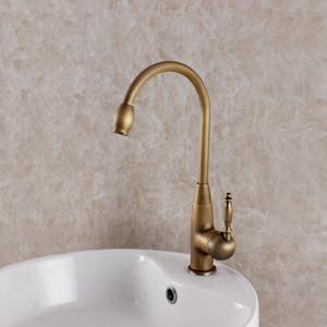 Único buraco óleo esfregou bronze torneira da cozinha estilo Europeu vintage antique sink mixer torneira da bacia misturador da cozinha quente e fria