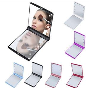 메이크업 거울 미니 접이식 휴대용 소형 핸드 화장품은 여성 여자 8 LED 조명 최대를 포켓 거울을 확인