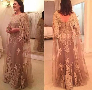 Vintage Plus Size Evening Dress 2018 New Fashion Mother of the Bride Dresses Lace Appliques Long Prom Party Gown for Fat Women