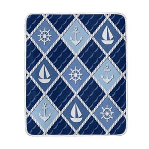 Marine Anchor Boot Marineblaue Decke Weiche warme gemütliche Bett Couch Leichte Polyester Mikrofaser Decke werfen