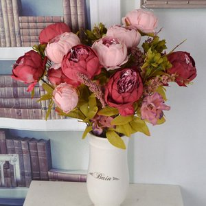 flor de seda Fake Peony Artificial Flowers 1 Bouquet Fall Vivid 4 Hojas 2 capullos de boda Wedding Home Party Decoration