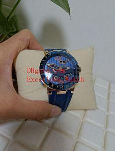 Sıcak Satmak Moda Saatler 43mm 326-00 18 K Rose Gold Otomatik Mekanik El Toro Perpetual Takvim GMT Çok Fonksiyonlu Mavi Arama Kauçuk S