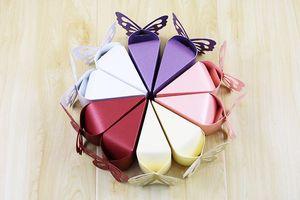 Commercio all'ingrosso 2019 nuove scatole di favore delle maveri boxe europei di carta perlato farfalla scatole di torta nuziale vendita calda regali di nozze per gli ospiti