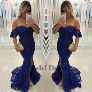 Atemberaubende Royal Blue Mermaid Abendkleider Off the Shoulders Front Split Sweetheart Pailletten Lace Formal Abendkleid für Frauen Party