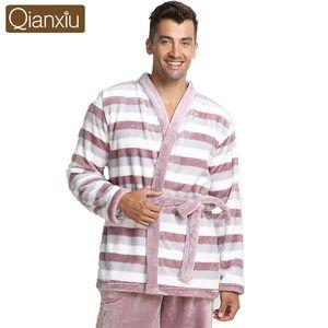 Qianxiu Marka Pijama Kalınlaşmak Vizon Yün Turn-aşağı Yaka Lounge Erkekler ve kadınlar Çiftler Için Giymek Nighewear