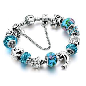 Dropshipping Ocean Style European Crystal Charm Pulsera para mujer con estrellas Anchor Dolphin Beads