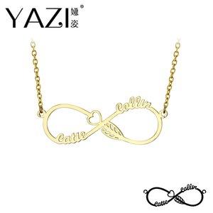 Yazi DIY Infinity Halskette eingraviert Paar Name Anhänger für Männer und Frauen Gold Farbe Kupfer Custom Schmuck einzigartige Memory Geschenk