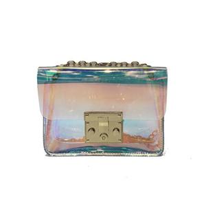 Bolso transparente de las mujeres de la manera Bolsas de mensajero claras del jalea del PVC de la pequeña bolsa de asas del holograma del laser para las mujeres
