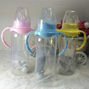 240ml Standard Mouth Baby Infant Kids Automatic Pipette Straw Pacifier Nipple Milk Feeding Bottle   Non slip Handle & Cup Cover