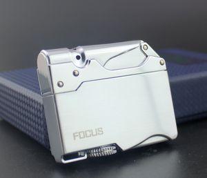 Neue Ankunfts-Neuheit-Metallstrahlgasfeuerzeug-aufblasbare Butanfeuerzeugturbine, Fokus-Fackel kann gesetzter Zigarettenkasten sein